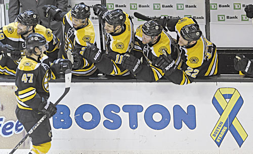 BRINGING IT: Boston Bruins defenseman Torey Krug (47) is congratulated by teammates after his goal against the New York Rangers during the second period in Game 5 of the Eastern Conference semifinals Saturday in Boston.