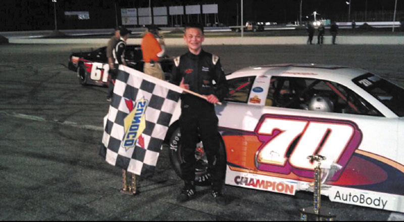 YOUNG GUN: Tommy Stilphen, 14 of Arundel, whose grandfather Bill Stilphen runs Richmond Karting Speedway, became the youngest Oxford Championship Series race winner ever Friday when he captured the checkered flag in the 40-lap Pro Late Model feature at Oxford Plains Speedway.