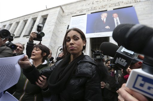 An April 4, 2013, photo of Karima el-Mahroug, also known as Ruby, the Moroccan woman at the center of ex-Premier Silvio Berlusconi's sex-for-hire trial.