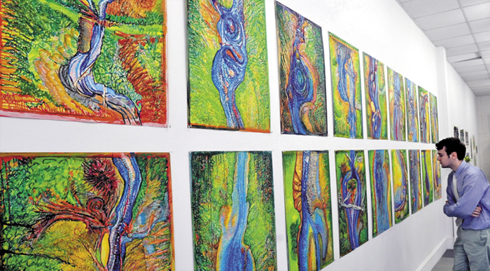 Sam Reed, an intern at Common Street Arts gallery in Waterville, studies an art exhibit recently.