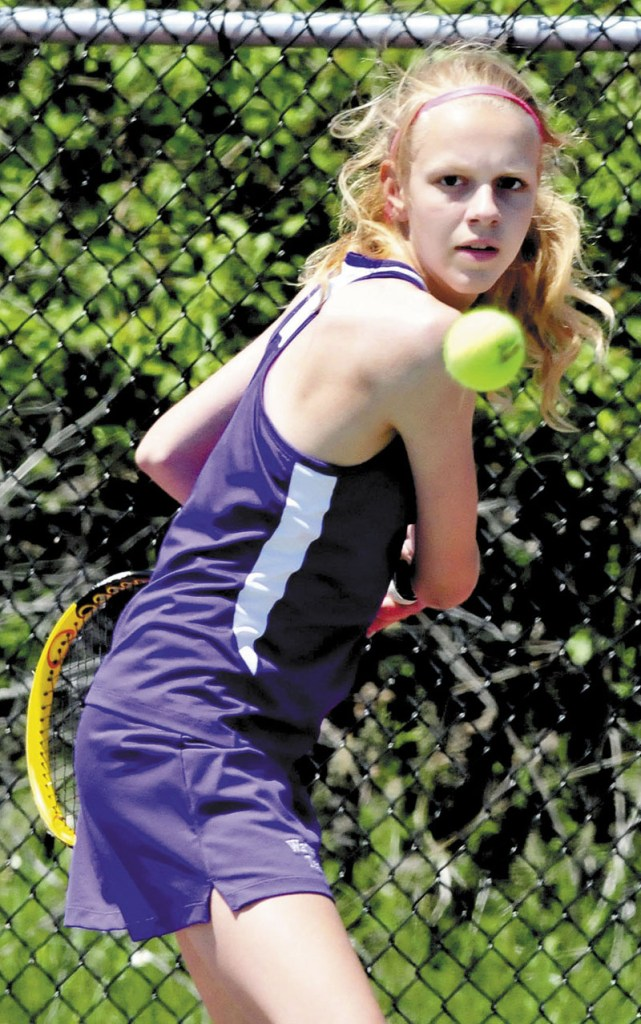 EASY VICTORY: Waterville's Tiffany Suchanek beat Jessica Toothaker 6-0, 6-0 at No. 2 singles as the Panthers beat Ellsworth 4-1 in the Eastern B final Wednesday in Orono.