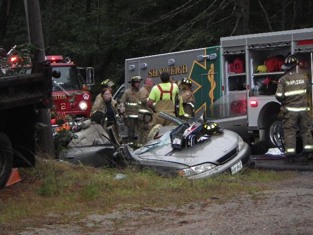 Two youths had to be extricated after a vehicle crashed into a utility pole in Shapleigh Monday, Sept. 2, 2013.