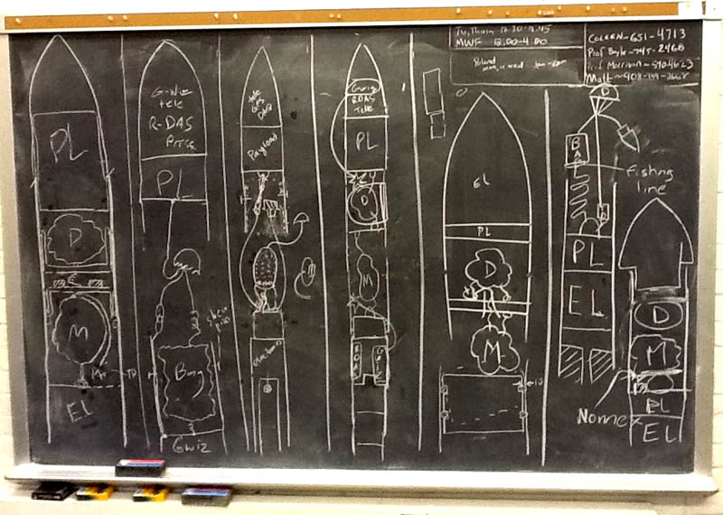 An early chalkboard concept from 2012 of Team Ursa's rocket project.