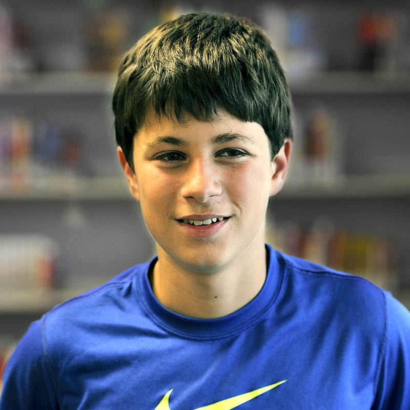 "Joe Harrington, 13, a seventh-grade student of Karen MacDonald, tells why he likes his teacher. ""She really gets you motivated so you have a really good experience at King."""