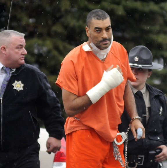 APPEARANCE: Justin Pillsbury, 38, is escorted into Kennebec County Superior Court in Augusta on Monday for his initial appearance on murder charges in the death of Jillian Jones. On Wednesday, Jones was found stabbed to death at the Crosby Street apartment in Augusta where she lived with Pillsbury. Pillsbury was charged with murder Friday afternoon at MaineGeneral Medical Center, where he was being treated for self-inflicted stab wounds.