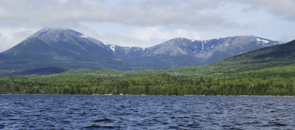 The view of Mount Kathadin across Katahdin Lake in Baxter State Park.
