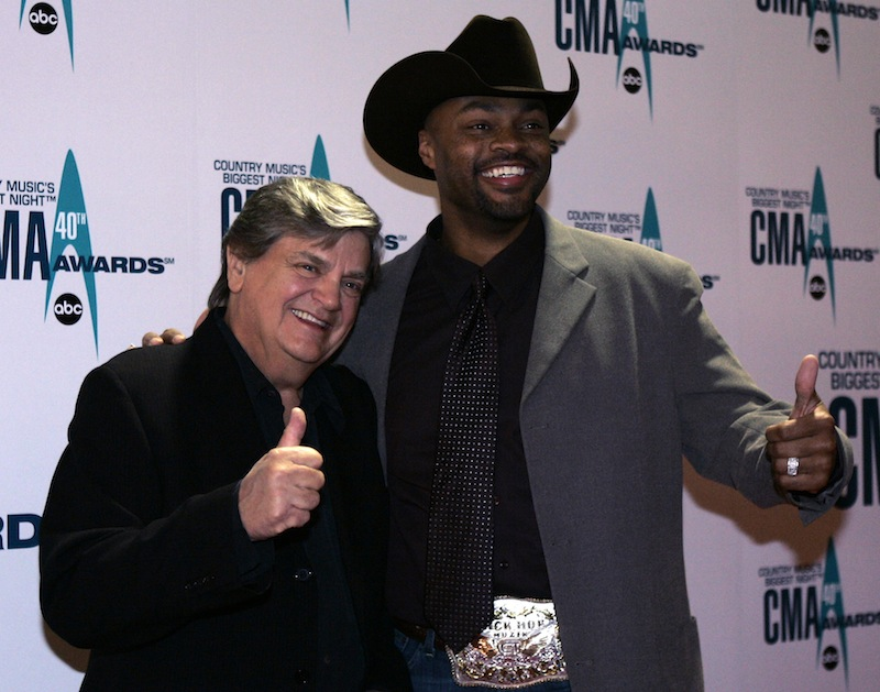 Phil Everly, left, and Cowboy Troy arrive at the 40th Annual CMA Awards in Nashville, Tenn., in November 2006.