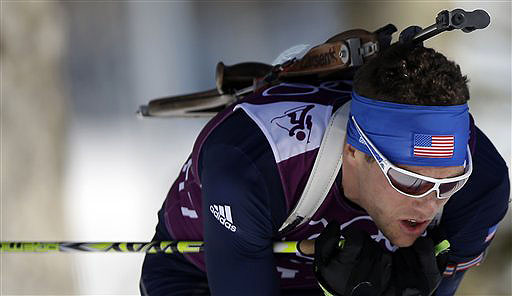 Tim Burke of the United States skis during a biathlon training session at the 2014 Winter Olympics on Thursday in Krasnaya Polyana, Russia. 2014 Sochi Olympic Games;Winter Olympic games;Olympic games;Spor
