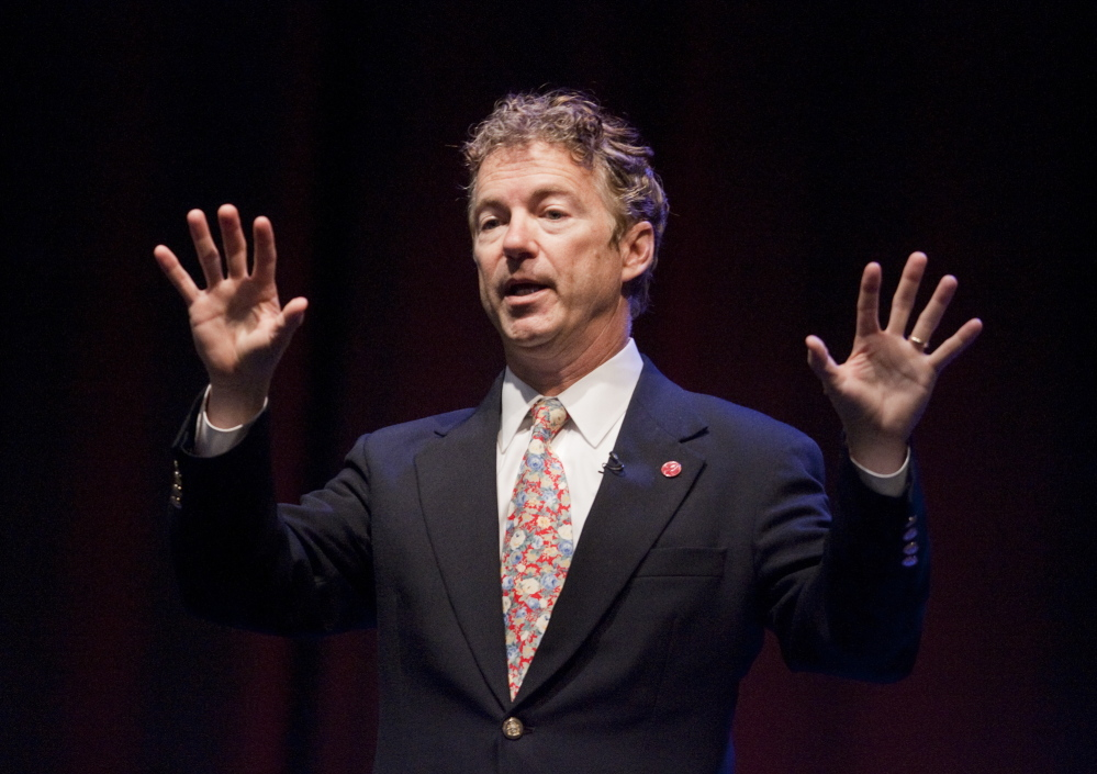 U.S. Sen. Rand Paul speaks during the Maine Republican Party convention at the Cross Insurance Center in Bangor on Saturday.