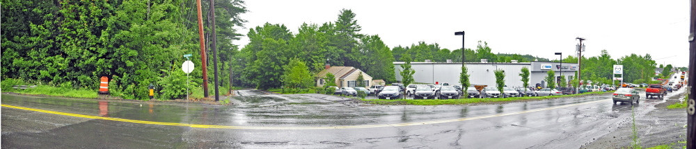 The intersection of Woodside Road, center, and Western Avenue in Augusta is the area in which Karen Nightingale was riding her motorcycle when she hit a pothole and suffered serious head injuries. She died Tuesday at Central Maine Medical Center in Lewiston.