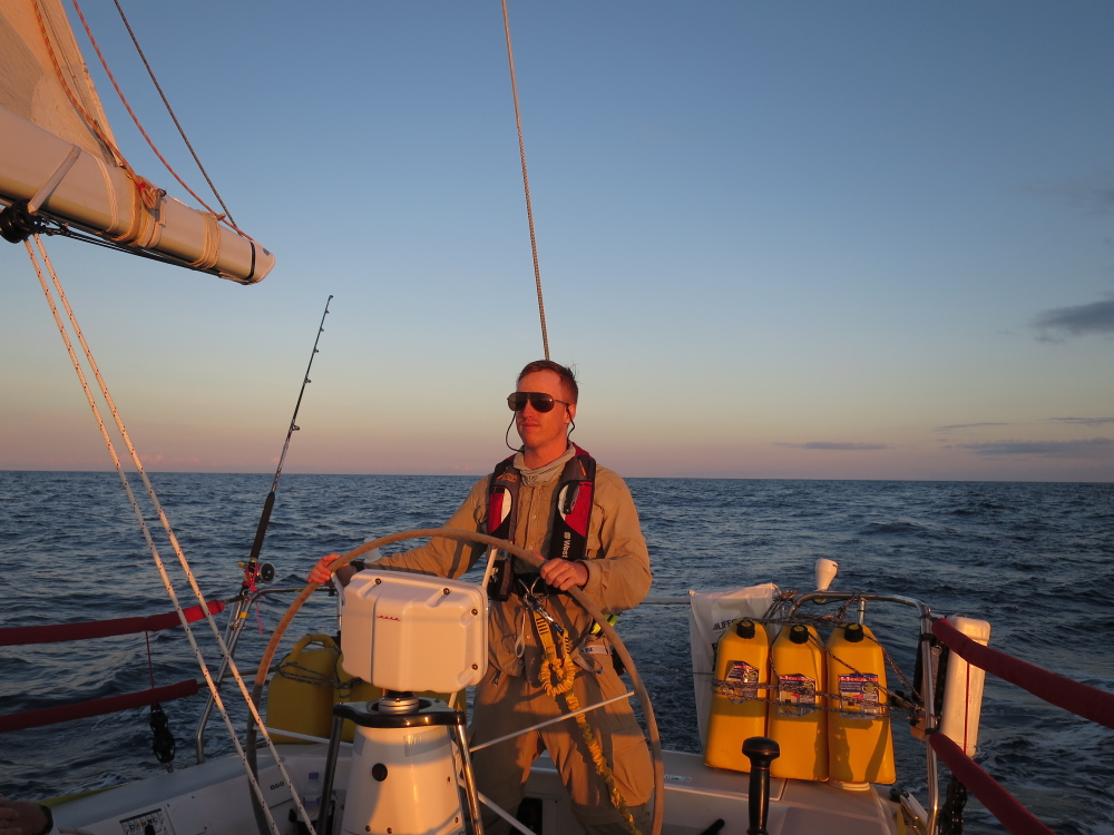 James Moore, formerly of Readfield, at sea sailing from Bermuda to Long Island in mid-July. Moore said it was important to him to get back at sea after a planned trip in May went horribly wrong.