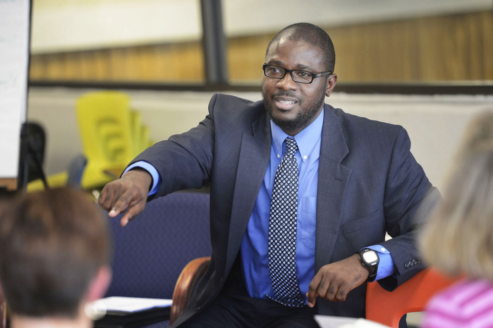 Staff Photo by Shawn Patrick Ouellette:  Portland Superintendent Emmanuel Caulk leads a listening session at the Reiche Community School in Portland Wednesday, September 5, 2012.