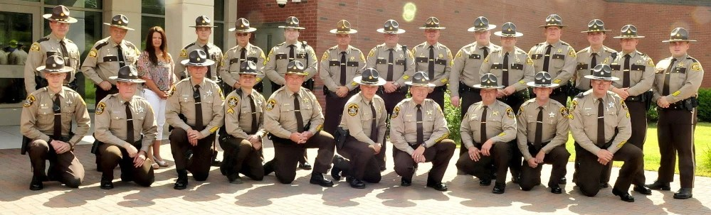 Ten officers each from Somerset County and Franklin County sheriff offices took part in a double swearing-in ceremony at the Somerset County Sheriff's Office in East Madison on Thursday.