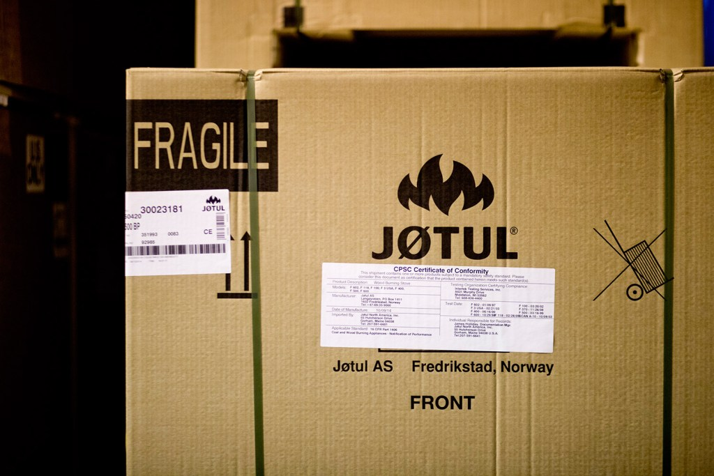 File photo: An assembled cast iron stove at Jøtul in Gorham, with parts from Norway, sits waiting to be shipped at the company's warehouse.