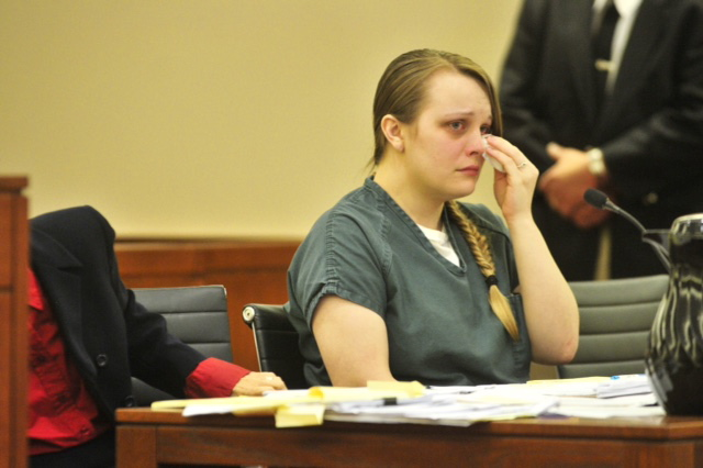 Alyssa Marcellino, 24, wipes away a tear Wednesday during a sentencing hearing in which she was sentenced to 32 months in prison for causing the death of Joan Fortier, 67, in a traffic accident in March 2014.
