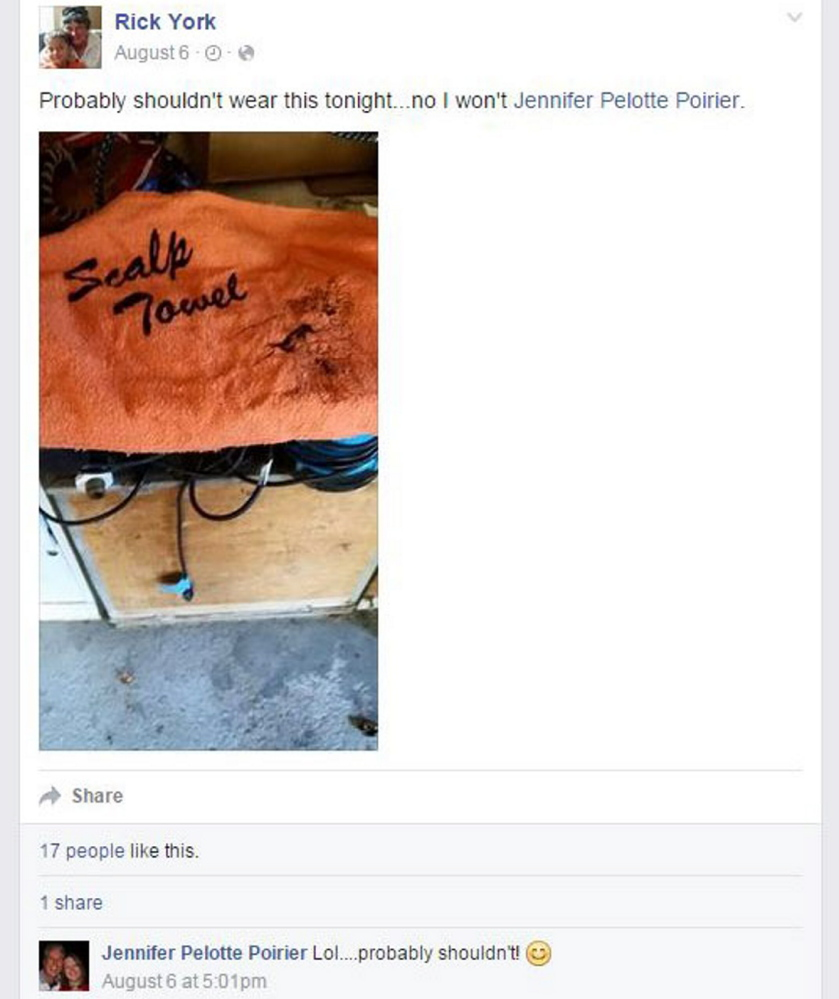 """Skowhegan Area High School baseball coach Rick York posted a picture of a """"scalp towel"""" on Facebook on Aug. 6, the day members of Maine's Indian tribes and their supporters planned to hold an informational rally at the town's River Fest. It was tagged to school board member Jennifer Poirer, a supporter of keeping the Indians mascot and nickname."""
