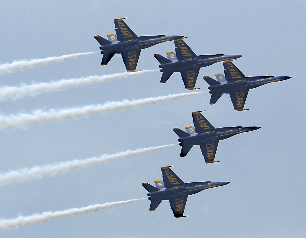 The Blue Angels practice Thursday before the Great State of Maine Air Show at Brunswick Executive Airport.