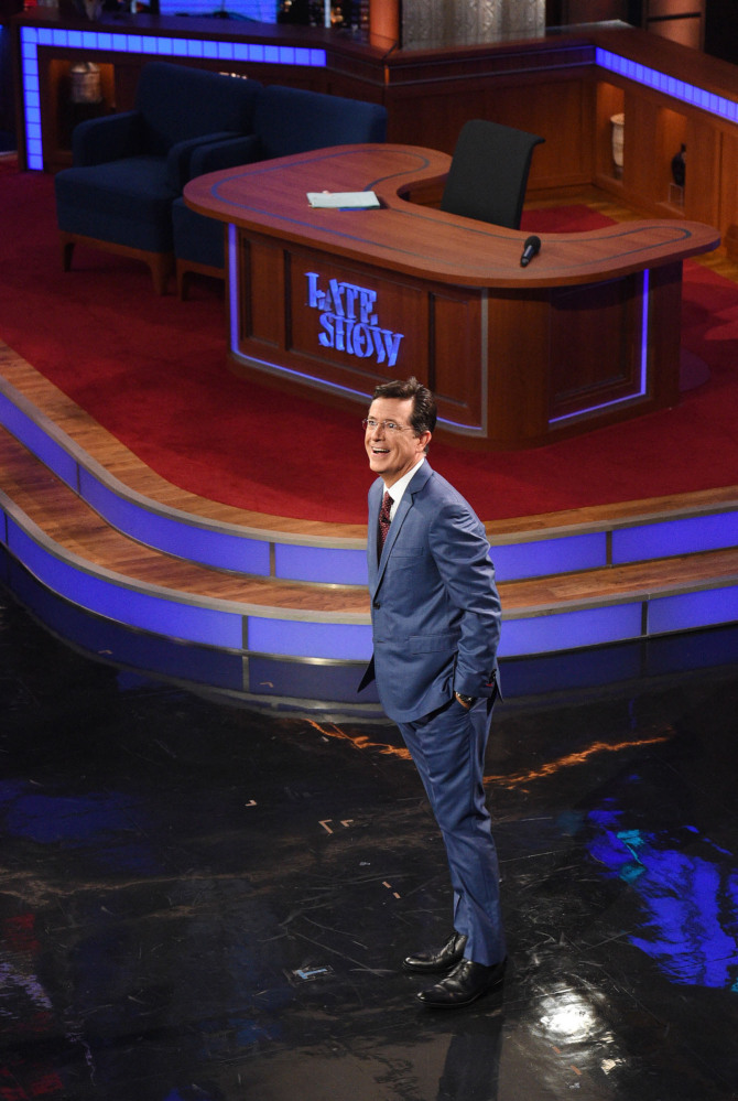 """Stephen Colbert appears for his first """"Late Show"""" on Tuesday in the renovated Ed Sullivan Theater in New York."""