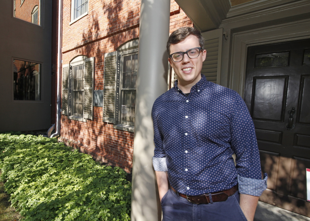 """Dan D'Ippolito, communications manager at the Maine Historical Society, moved to Maine from New York City and says he appreciates the state's lifestyle and natural beauty. """"I realized that we wouldn't be making as much money. Things are a little tight, but it's totally worth it."""""""