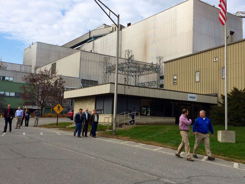 Maine lawmakers leave the Sappi Fine Paper Somerset Mill on Thursday on part of a tour of three Maine mills ahead of a state-wide summit on the state of the paper industry later this month. The legislators also visited Madison Paper Industries in Madison and Sappi's Westbrook Mill on Thursday.