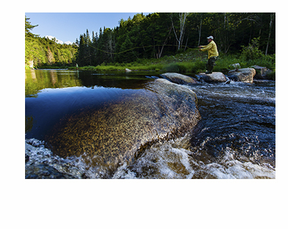 Fly-fishing on Cold Stream in Maine's Northern Forest. (Photo by Jerry Monkman)