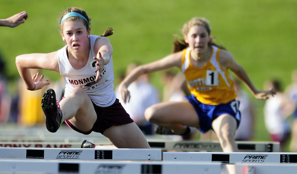 Monmouth's Emily Grandahl competes in the 100-meter hurdles during a meet last Friday at Alumni Field in Augusta.