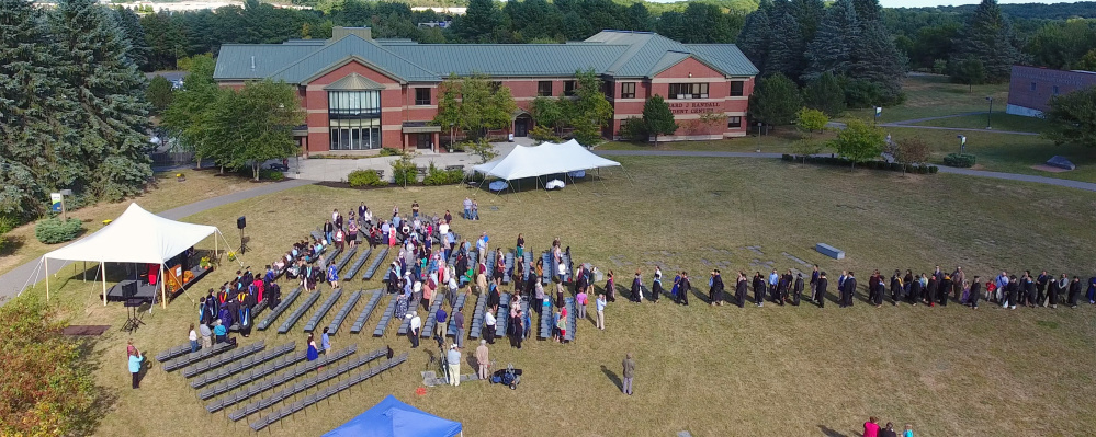 Photo by Greg Jolda and Dan Leclair, UMA Aviation Program Aerial footage taken with a drone shows the University of Maine at Augusta Convocation on Friday on campus in Augusta.