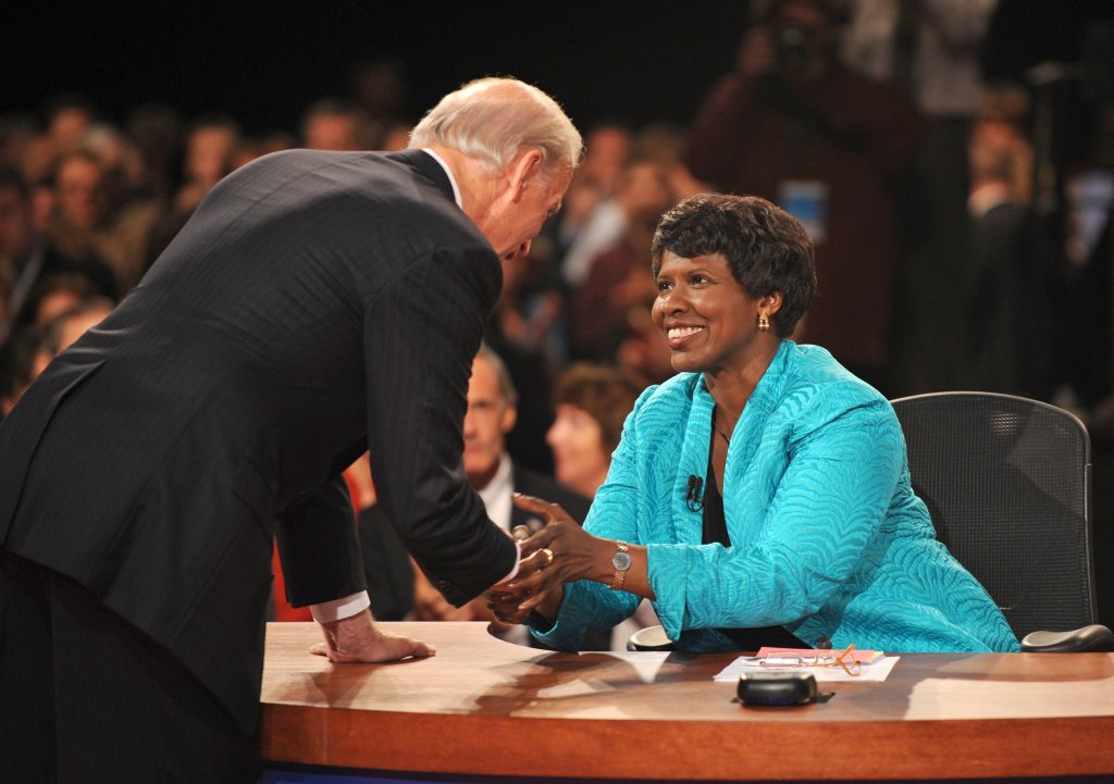 Gwen Ifill and then-vice presidential nominee Joe Biden shake hands at the end of the vice presidential debate in St. Louis, Mo., on Oct. 2, 2008.