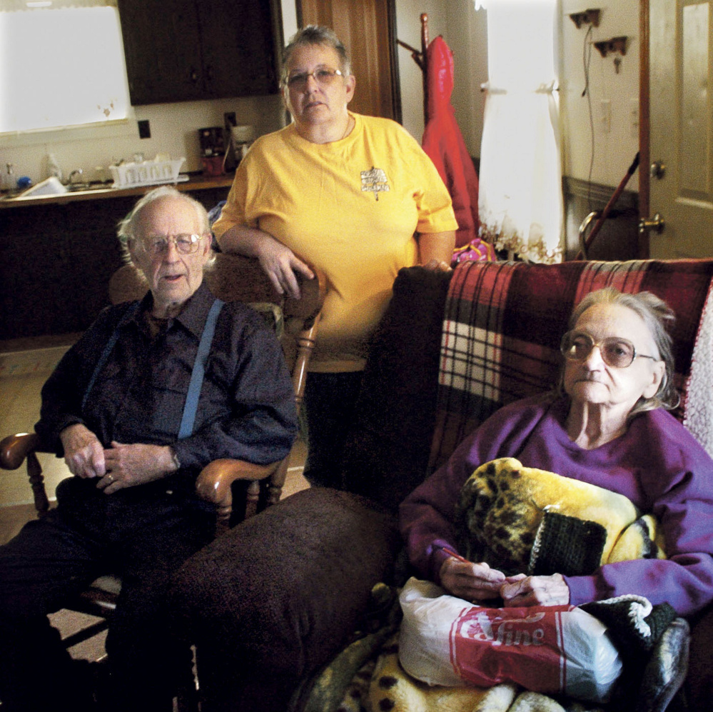 Richard and Leonette Sukeforth, both 80 years old, live in Holden with their daughter Yvette Ingalls after having been evicted from their home in Albion for nonpayment of real estate taxes.