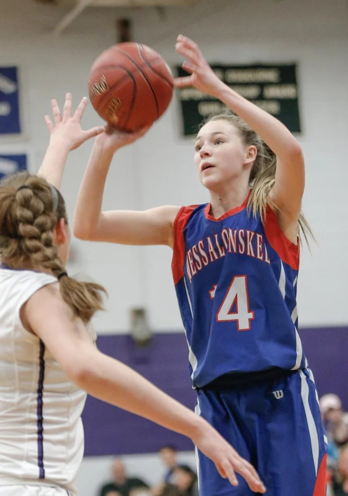 Messalonskee freshman Gabrielle Wener shoots a 3-pointer during a game against Waterville on Friday night.