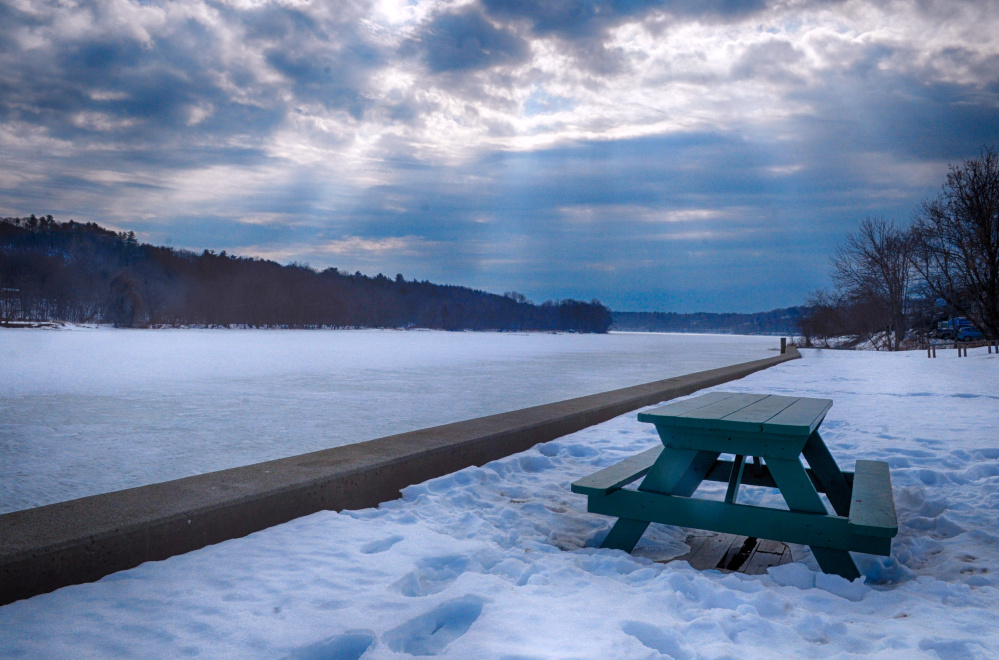 This photo taken on Friday shows the Kennebec River in Hallowell, which sometimes floods following snow melt and rain.