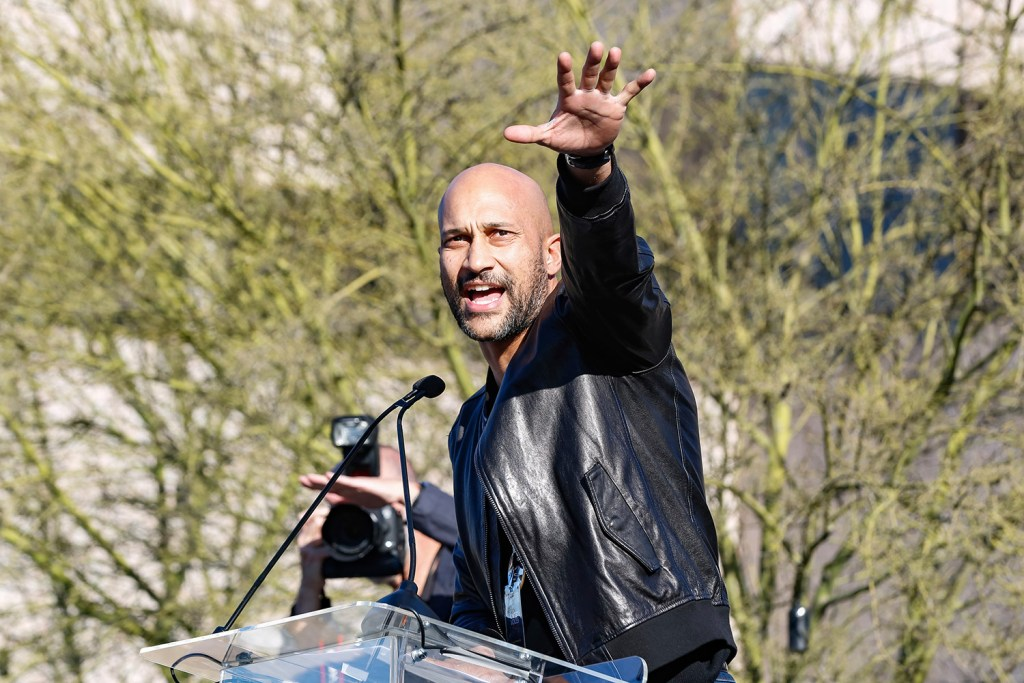 """Keegan-Michael Key welcomed all to the rally, including a handful of Trump supporters, because """"this is America, where you get to believe what you want."""""""