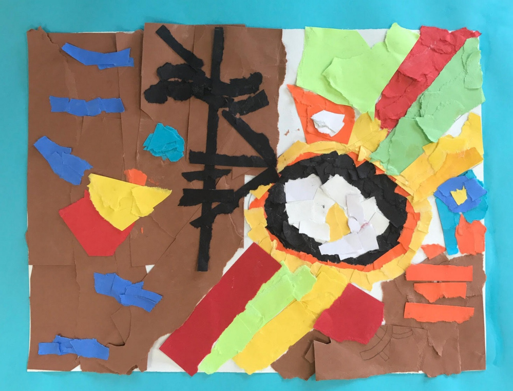 """Untitled Ripped Paper Collage"" by Garrett, a third-grade student Marcia Buker Elementary School."