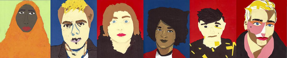 """The 11th annual Higher Forms of Art exhibition of artwork by students from area high schools will be on display March 19-31 at the University of Maine at Augusta's Danforth Gallery in Jewett Hall at 46 University Drive, Augusta. """"Self Portraits"""": Shukri Abdirahman, Jarod Norcross Plourde, Taylor Richards, Makayla Moore, Caleb Gorey and Chandler Burke."""
