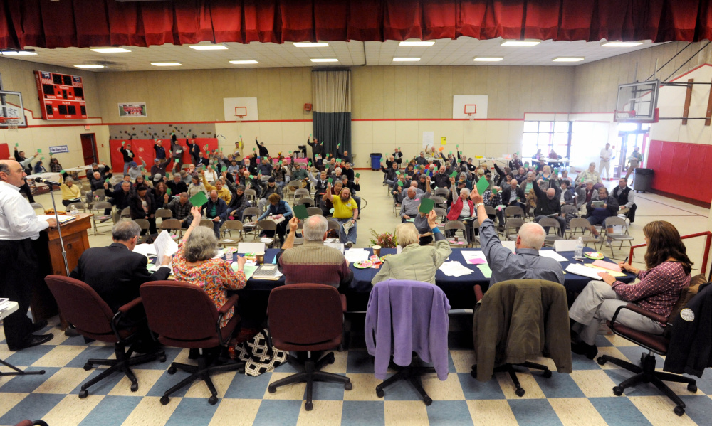Residents of China gather on March 26, 2016, for Town Meeting at China Elementary School.