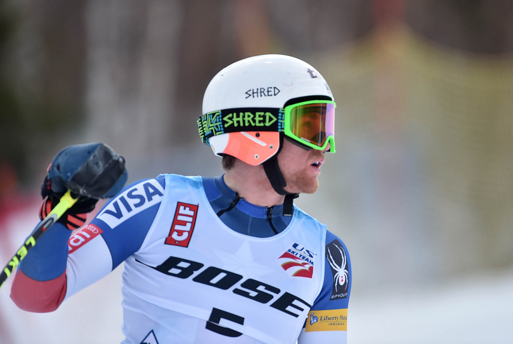 Ryan Cochran-Siegle reacts after winning the men's super-G at the U.S. Alpine Championships at Sugarloaf on Saturday in Carrabassett Valley.