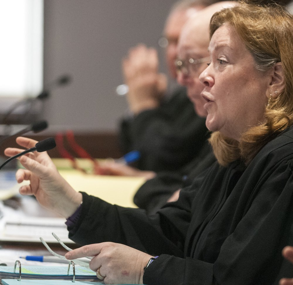 Chief Justice Leigh Saufley asks a question of an attorney about ranked-choice voting during Thursday's hearing at the Capital Judicial Center in Augusta.