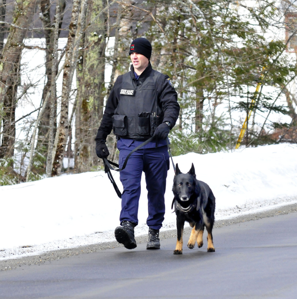Trooper G.J. Neagle and tracking dog Draco search along Winnecook Road in Burnham while investigating the death of Joyce Wood on Sunday morning who lived on that road.