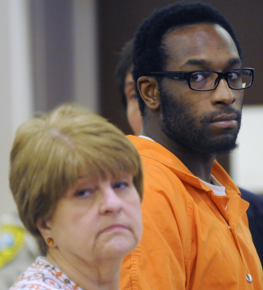 David Marble Jr. appears in March 2016 in Kennebec County Superior Court in Augusta after being accused of killing two people in December 2015 in Manchester. At that time, he was represented by attorneys Pamela Ames and David Geller.
