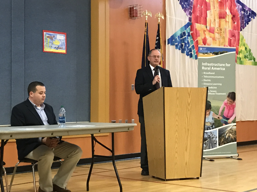 Norridgewock Town Manager Richard LaBelle, left, and Tommy Higgins, the acting state director for the U.S. Department of Agriculture's Rural Development program, announce a $5 million funding package that will pay for repairing the town's aging wastewater treatment facility.