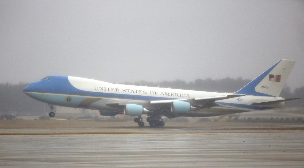 One of the two aircraft used as Air Force One lands with then-President Barack Obama and his family at Joint Base Andrews in Maryland on Jan. 2, 2017.