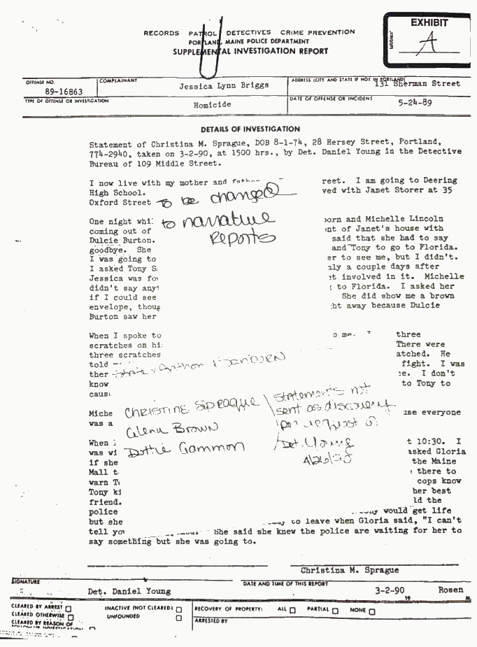 Page 69 of the bail motion for Anthony Sanborn shows hand-written notes about three witnesses in the case.