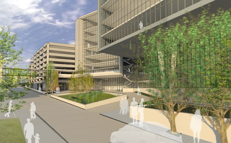 The proposed new entrance to Maine Medical Center on Congress Street.