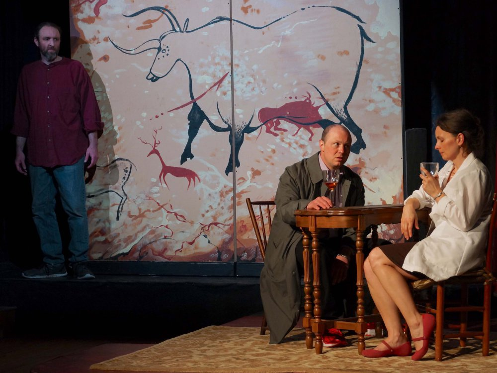 "Josh Brassard, J.P. Guimont and Mary Fraser in ""Lascaux."""