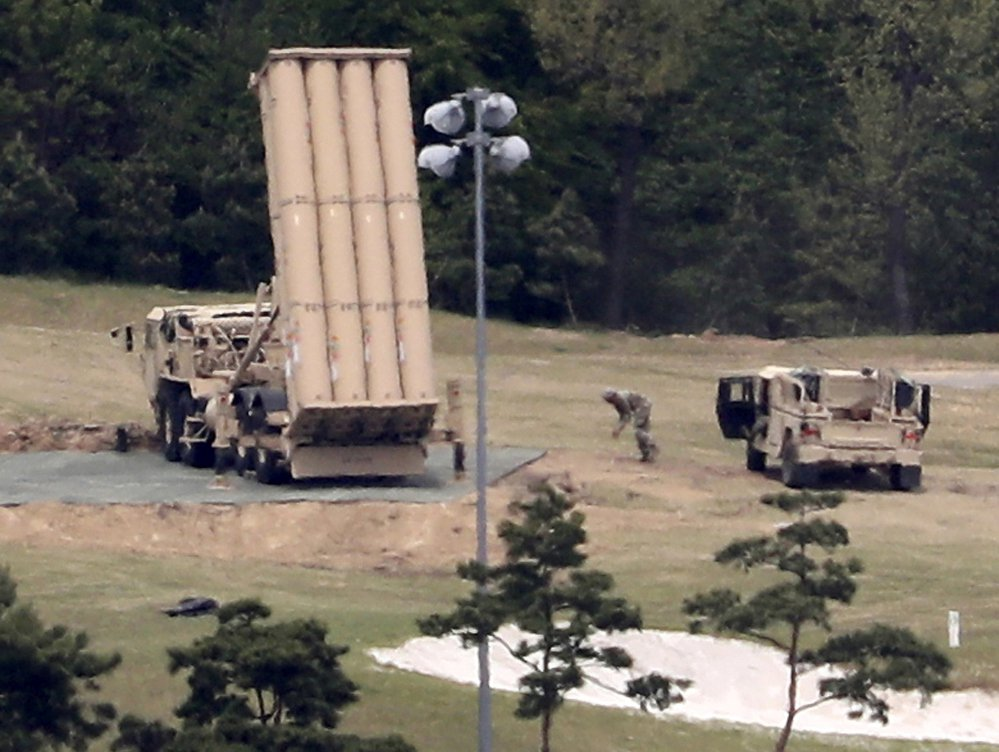 A U.S. missile defense system called Terminal High Altitude Area Defense, or THAAD, is installed on a golf course in Seongju, South Korea, this month.