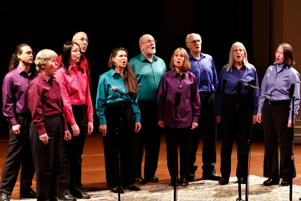 Northfield, an a cappella group based in Farmington, in front, from left, are Margaret Cox, Jess Isler, Vicky Cohen, Joan Quinn, Mardie Porter and Laurie Hatch. In back, from left, are Josh Grams, Dan Simonds, Dan Woodward and Mark Paddock.