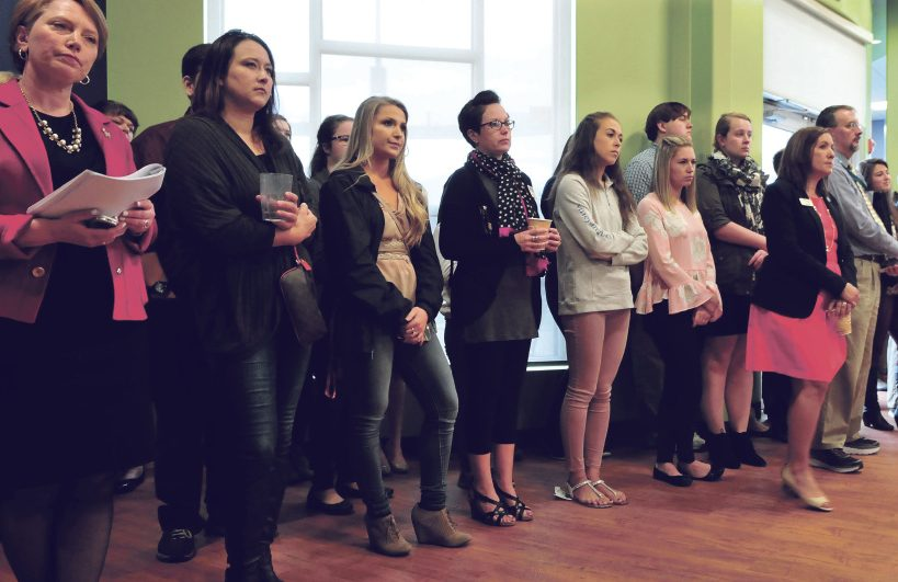 Thomas College students and staff members listen to speakers Wednesday after an announcement that Thomas College would receive $5.3 million from the Harold Alfond Foundation for the new Harold Alfond Institute of Business Innovation at the Waterville college.