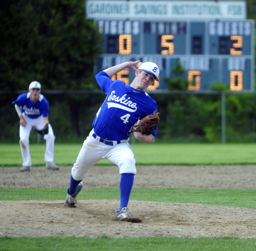 Erskine starter Nate Howard delivers a pitch in the fifth inning of a game against Gardiner on Tuesday. Howard pitched a five-inning no-hitter as the Eagles cruised to a 12-0 victory in Gardiner.