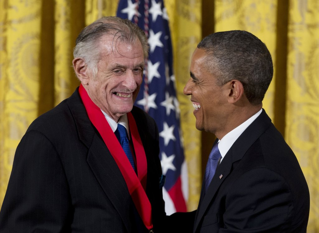 Frank Deford is awarded the National Humanities Medal by President Obama during a ceremony at the White House in 2013.