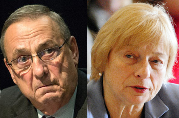 Outgoing Gov. Paul LePage and Gov.-elect Janet Mills